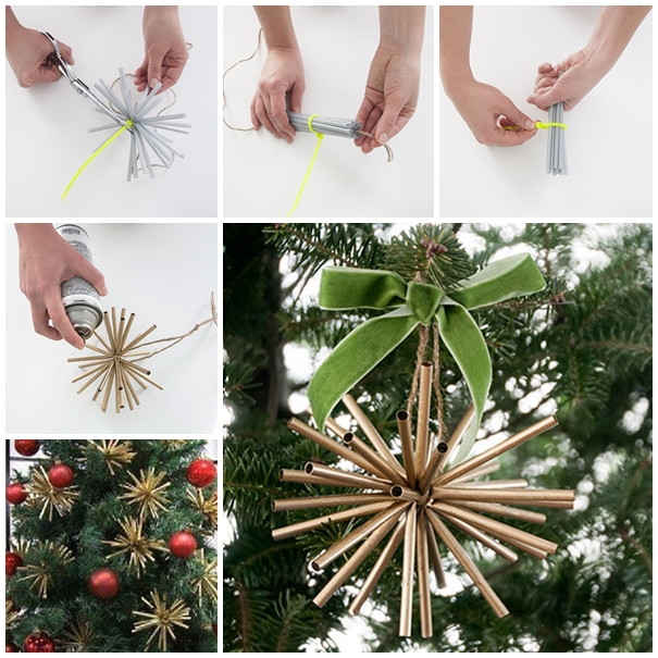 gold star ornaments from drinking straw DIY F Wonderful DIY Gold Star Ornaments From Drinking Straw
