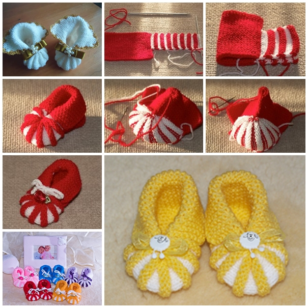 knitted baby booties DIY F Wonderful DIY Easy Knitted Baby Booties