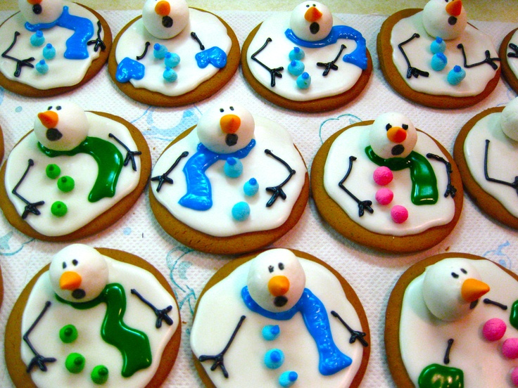 Wonderful DIY Marshmallow Melted Snowman Cookies