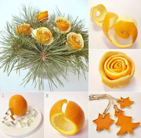 orange rind roses centerpiece  Wonderful DIY Orange Peel Christmas Ornaments