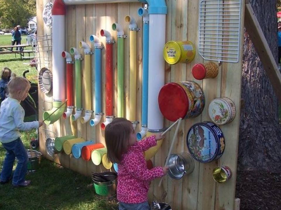 outdoor music station 1   Wonderful DIY Rain Gutter Bookshelves For Kids