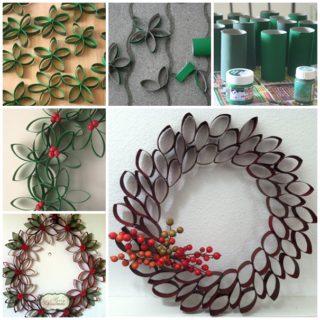 Wonderful DIY Unique Christmas Wreath From Paper Rolls
