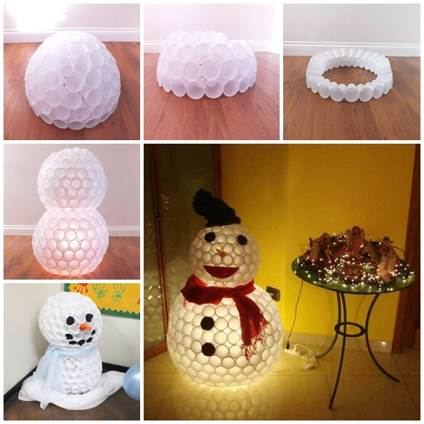 plastic cup snowman F Wonderful DIY Glittery Snowball Ornaments for Christmas