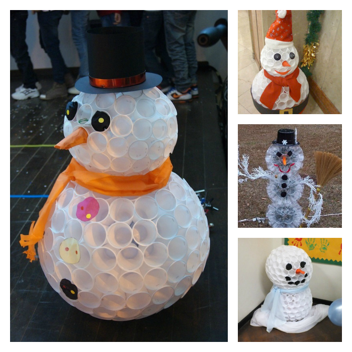 wonderful diy fun snowman from plastic cups. Black Bedroom Furniture Sets. Home Design Ideas