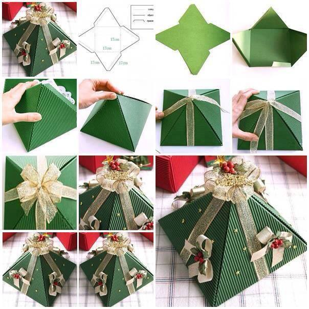 pyramid christmas tree gift box DIY Wonderful DIY Christmas Tree Pop up Greeting Card