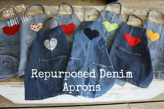 repurposed denim pant leg aprons Wonderful DIY Easy Childrens Apron From Old Jeans