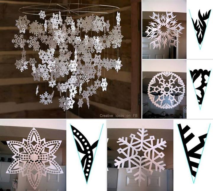 snowflake mobile Wonderful DIY Pretty Paper Snowflake Mobile From Template