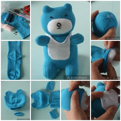sock bear DIY  Wonderful DIY Cute Sock Teddy Bear
