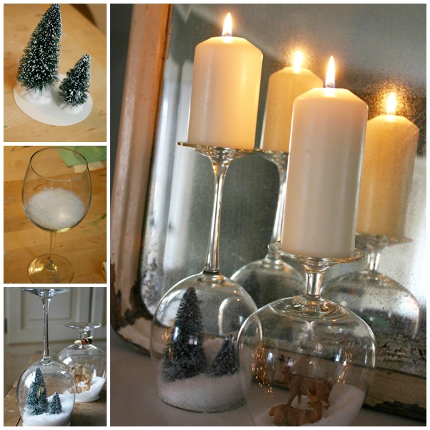 stemware snow globes F Wonderful DIY Stemware Snow Globes  Candle Holder