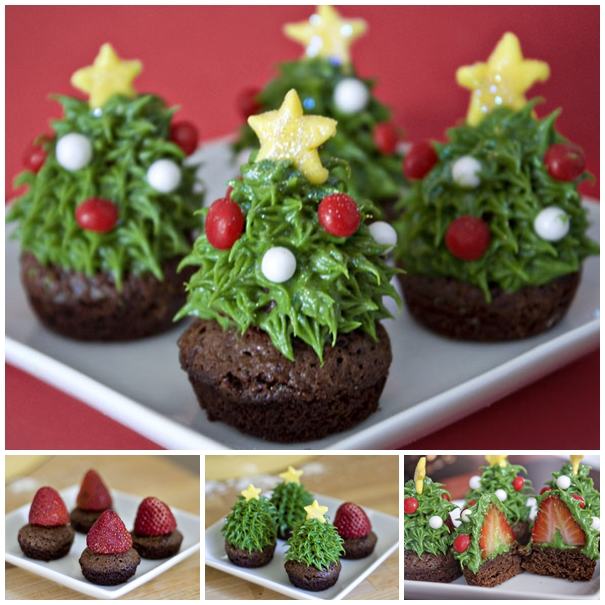 strawberry christmas tree brownie F Wonderful DIY  Cute Santa Strawberry Cake
