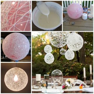 Wonderful DIY Decorative String Chandelier With Yarn and Balloon