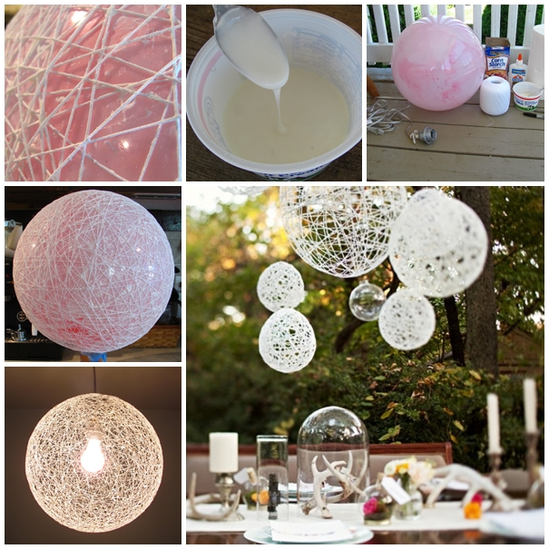 string chandeliers DIY F Wonderful DIY Decorative String Chandelier With Yarn and Balloon
