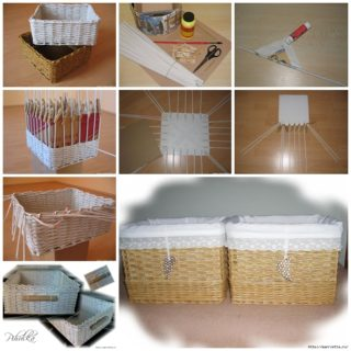 DIY Basket Woven from Recycled Newspaper