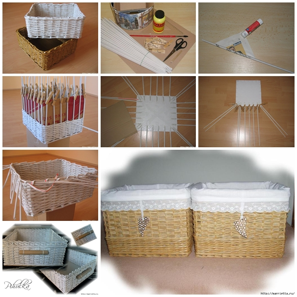 weaving baskets with newspaper wicker F DIY Basket Woven from Recycled Newspaper