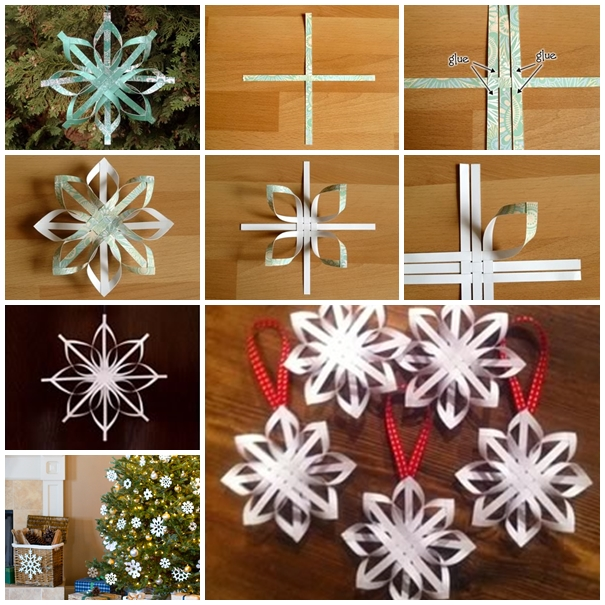 Wonderful diy woven paper star snowflake ornaments for Paper christmas decorations to make at home