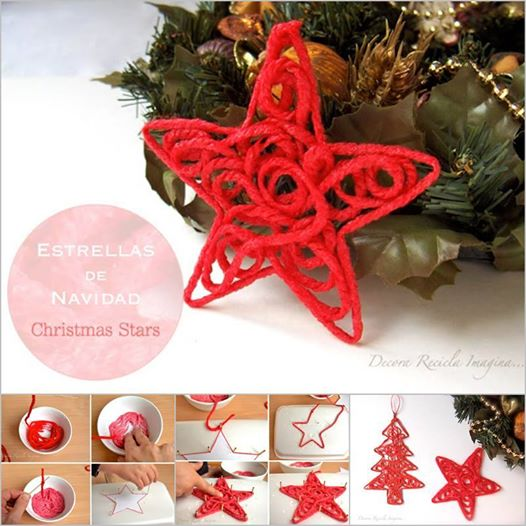 yarn Christmas star1 Wonderful DIY Yarn Star Ornaments for Christmas