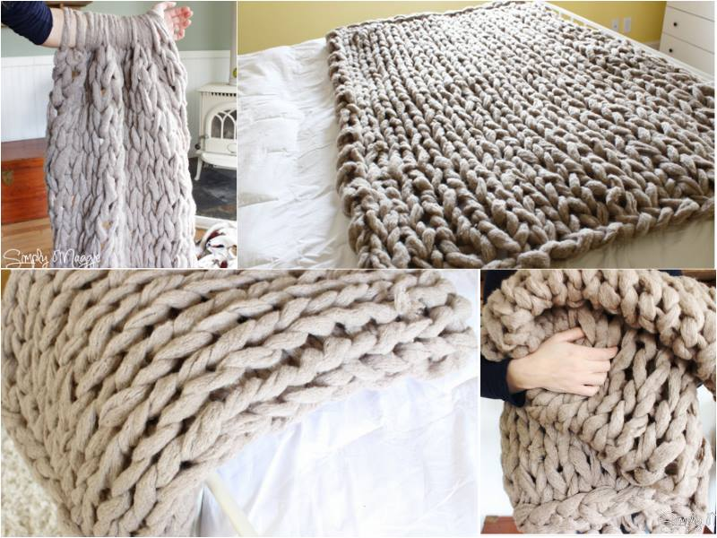 Arm Knit a Blanket wonderfuldiy 2 Fancy 45 Minutes DIY Arm Knitted Blanket