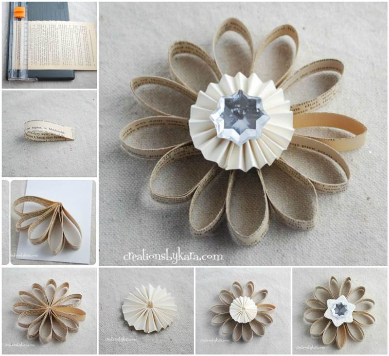 Book Page Flower Christmas Ornament wonderful diy Wonderful DIY Book Page Christmas Ornaments