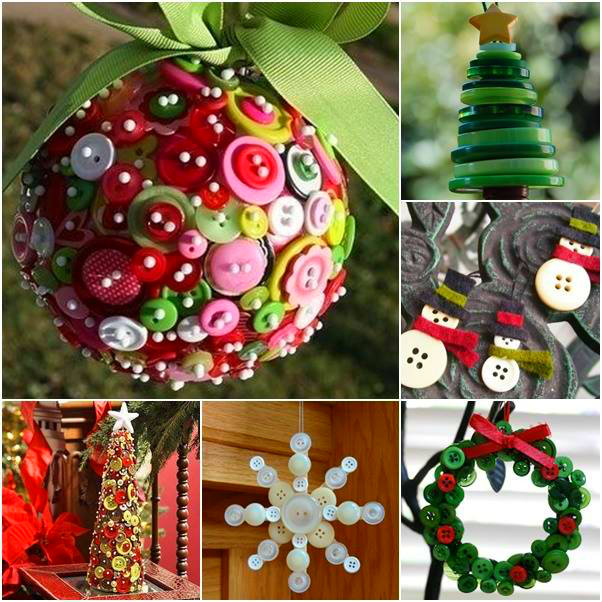 Wonderful Diy Ribbon Beads Christmas Tree: Wonderful DIY Cute Button Christmas Ornaments