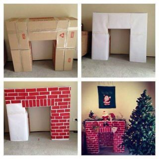 Wonderful DIY Cardboard Christmas Fireplace