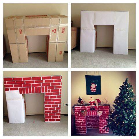 Wonderful diy cardboard christmas fireplace solutioingenieria Gallery