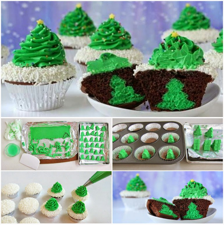 Cheesecake Stuffed Christmas Tree Cupcakes Wonderful DIY Surprise Christmas Tree Cupcakes