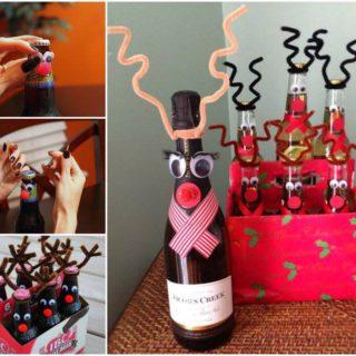 Wonderful DIY  Reindeer Wine / Beer Bottle for Christmas Gift
