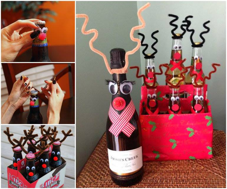 wonderful diy reindeer wine beer bottle for christmas gift - Christmas Wine Bottle Decorations