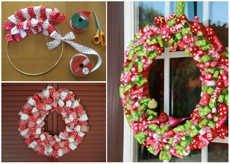 wonderful diy easy ribbon christmas wreath - How To Make A Christmas Wreath