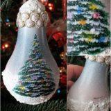 Wonderful DIY Christmas Tree and Falling Snow Bulb Ornament