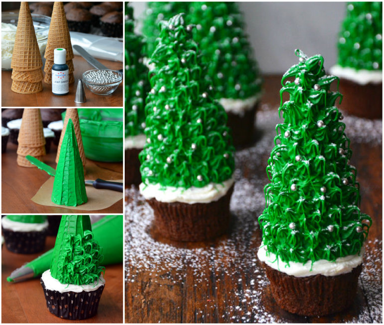 Christmas Tree Chocolate Cupcakes wonderfuldiy    Wonderful DIY Amazing Christmas Tree Cupcake