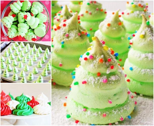 wonderful diy christmas tree meringue cookies - Christmas Tree Meringues