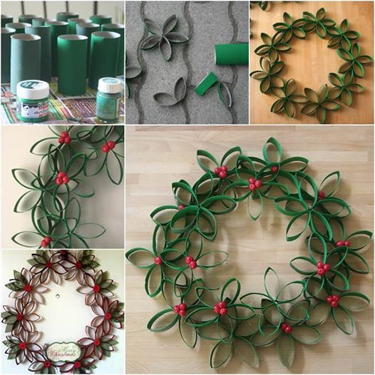 Christmas wreath made from toilet paper rolls Wonderful DIY Unique Christmas Wreath From Paper Rolls
