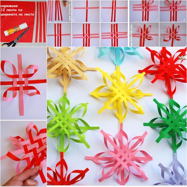 Colorful SNOWFLAKES wonderful DIY Wonderful DIY Colorful Woven Star Snowflake