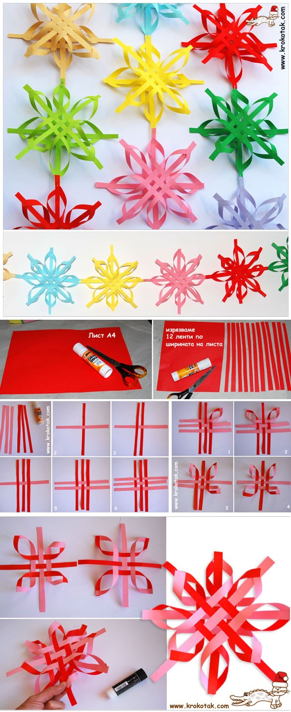 Colorful SNOWFLAKES2 Wonderful DIY Colorful Woven Star Snowflake