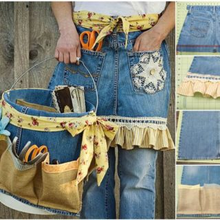 Wonderful DIY Garden Apron and Tool Caddy from Old Jeans