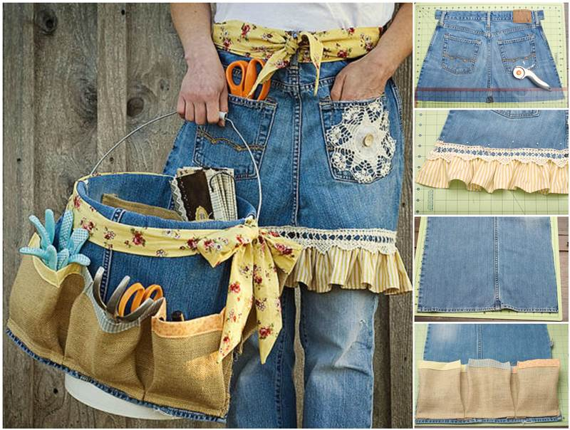 Creative Ideas DIY Repurpose Old Jeans into Garden Apron and Tool Caddy Wonderful DIY Garden Apron from Old Jeans