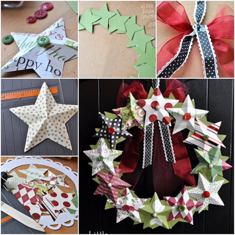 DIY 3D Paper Star Wreath Wonderful DIY 3D Paper Star Wreath / Ornaments