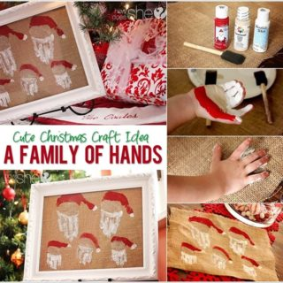 Wonderful DIY Family  Hand Print Santa Wall art