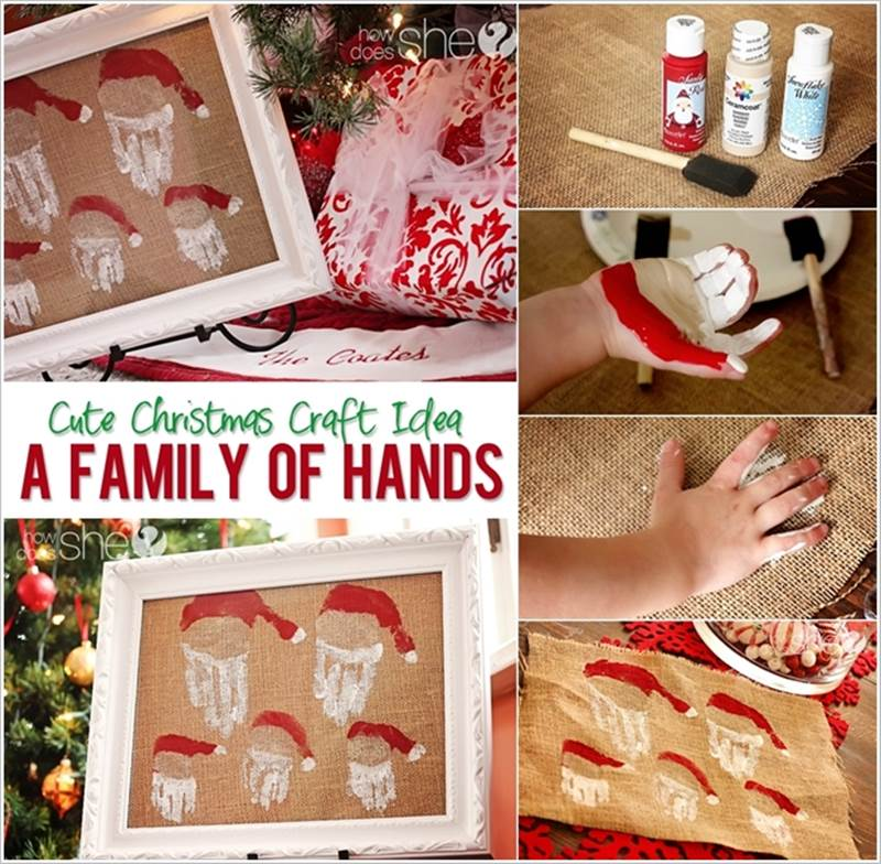 Family Hand Print Santas wall art wonderful diy Wonderful DIY Family  Hand Print Santa Wall art
