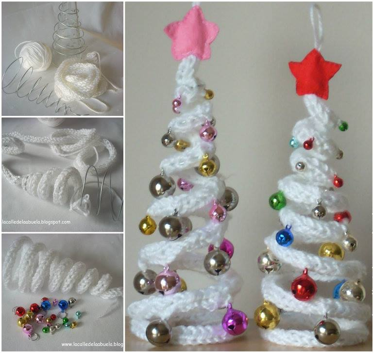 wonderful diy french knitting ornaments for christmas - Mini Christmas Tree Ornaments