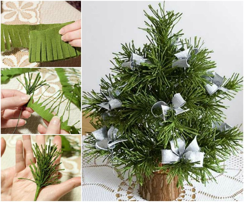 How to DIY Mini Crepe Paper Christmas Tree tutorial Wonderful DIY Cute Mini Paper Christmas Tree