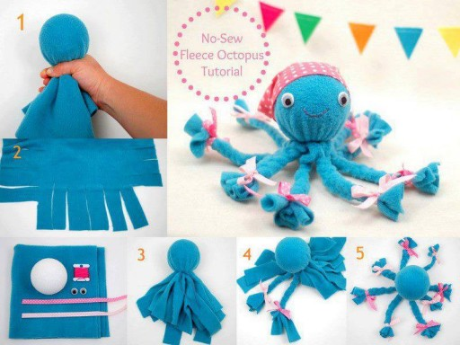 No Sew Fleece Octopus wonderfuldiy F Wonderful DIY Cute Fleece Octopus without sewing