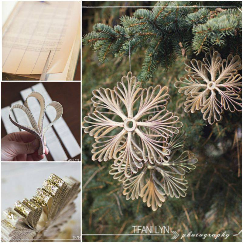 Paper Snowflake Ornaments wonderful diy  Wonderful DIY Book Page Snowflake Ornaments for Chrsitmas