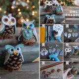 Wonderful DIY Cute Pine Cone Owl Ornaments