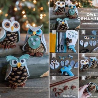 Wonderful DIY Cute Pine Cone Owl Ornaments