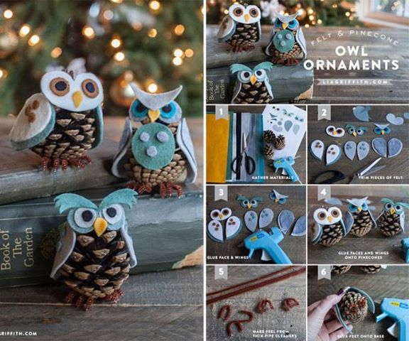 Pine Cone Owl Ornaments-wonderfulDIY