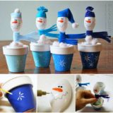 Wonderful DIY  Cute Snowman from Plastic Spoon