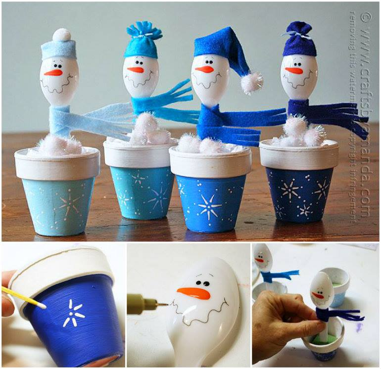 Plastic Spoon Snowman wonderful diy  Wonderful DIY  Cute Snowman from Plastic Spoon