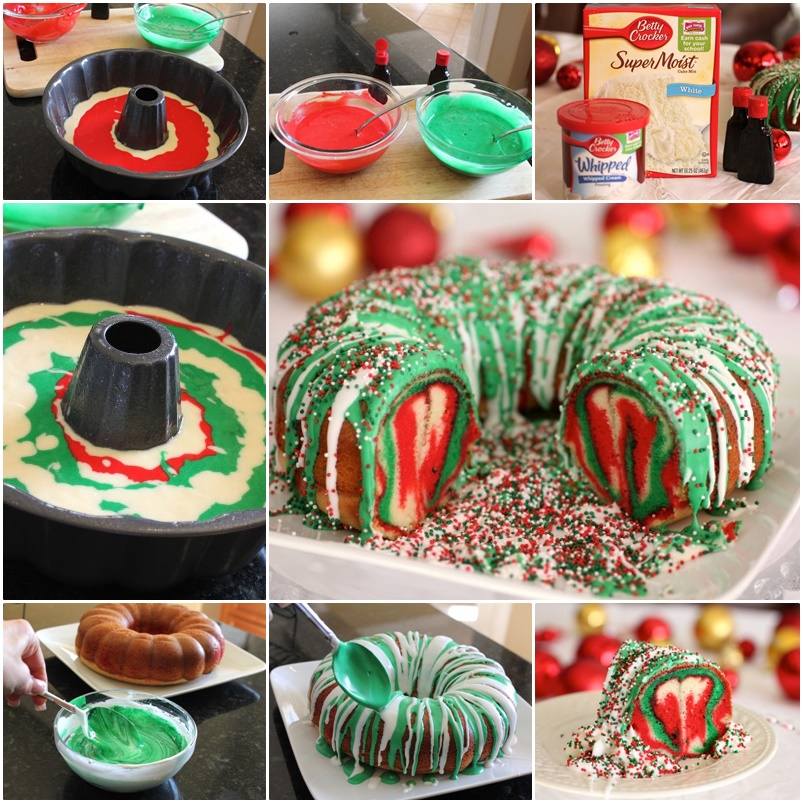 Rainbow Tie Dye Christmas Wreath Bundt Cake DIY F Wonderful DIY Christmas Rainbow Tie Dye Wreath Cake